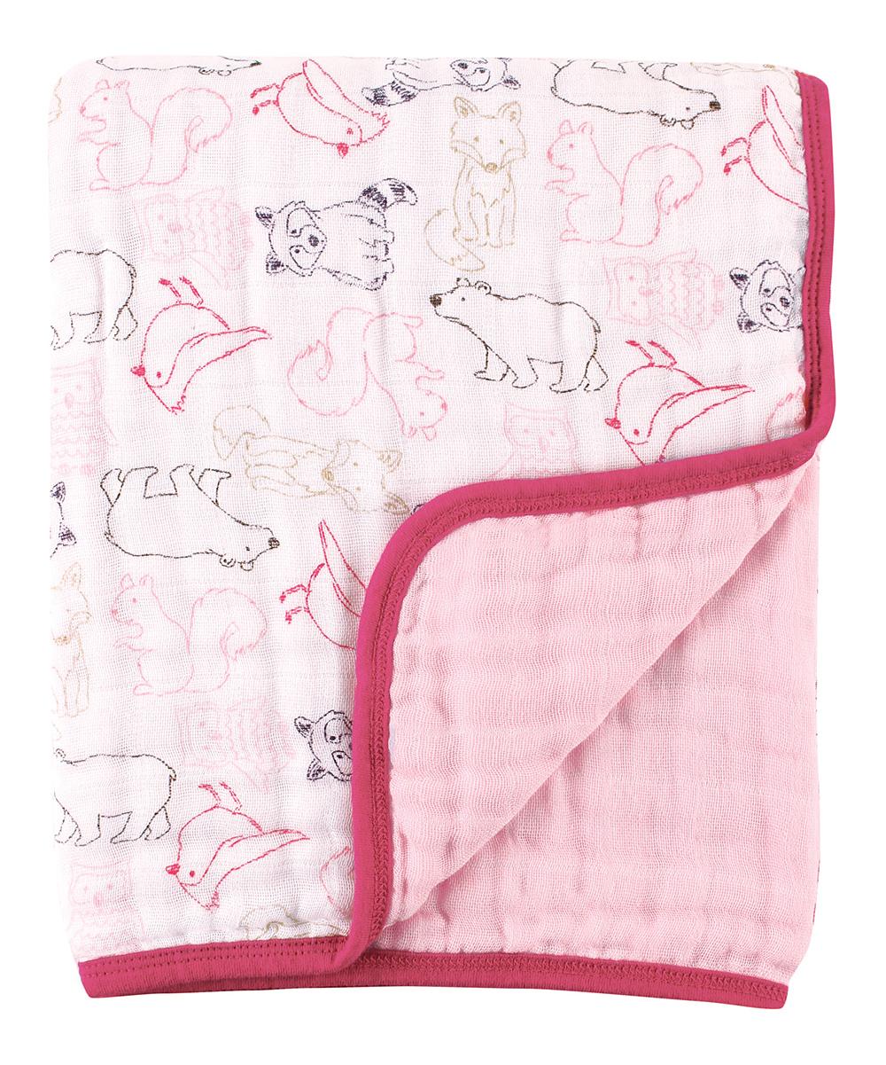 Pink organic muslin stroller blanket