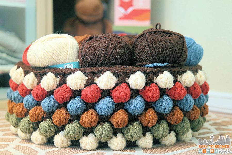 Bobble Crochet Yarn Storage Basket Pattern - Free Bobble Storage Basket Crochet Pattern