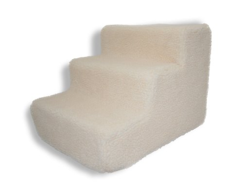 Best Pet Supplies 3-Step Foam Pet Stairs - 18 by 15 by 13-Inch covered in White Lambswool