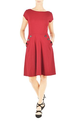 Large Button Boat Neck with Pockets Knit Dress - Affordable Custom Made Dresses - Create a Made to Order Dress, Most Under $100