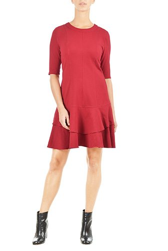 Ladies Jersey Knit Drop Waist Dress - Custom-Made Red Dresses - Change the Sleeve, Neckline, Length, and More - Plus and Standard Sizes - custom made most under 0