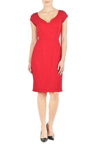 Women's Woven Twill Sheath Dress - Custom-Made Red Dresses - Change the Sleeve, Neckline, Length, and More - Plus and Standard Sizes - custom made most under 0