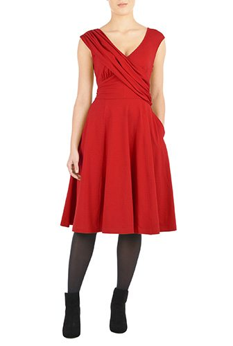 Draped Front Cotton Knit Dress - Custom-Made Red Dresses - Change the Sleeve, Neckline, Length, and More - Plus and Standard Sizes - custom made most under 0