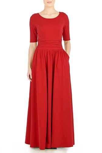 Ruched Waist Cotton Knit Maxi Dress - Custom-Made Red Dresses - Change the Sleeve, Neckline, Length, and More - Plus and Standard Sizes - custom made most under 0