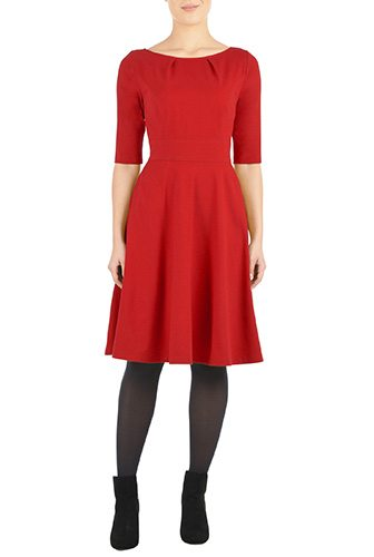 Pleat Neck Cotton Knit Dress - Affordable Custom Made Dresses - Create a Made to Order Dress, Most Under $100