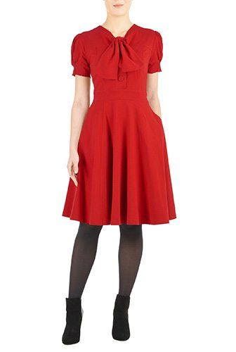 Vintage Style Tie-neck Red Cotton Knit Dress - Affordable Custom Made Dresses - Create a Made to Order Dress, Most Under $100 - Plus Size and Standard