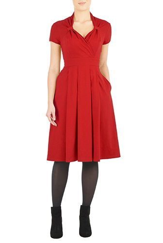 Vintage 40's Style Cotton Knit Dress - Custom-Made Red Dresses - Change the Sleeve, Neckline, Length, and More - Plus and Standard Sizes - custom made most under 0