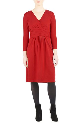 Pleated Surplice Cotton Knit Dress - Custom-Made Red Dresses - Change the Sleeve, Neckline, Length, and More - Plus and Standard Sizes - custom made most under 0