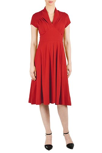 Feminine Pleated Red Cotton Knit Dress - Custom-Made Red Dresses - Change the Sleeve, Neckline, Length, and More - Plus and Standard Sizes - custom made most under 0