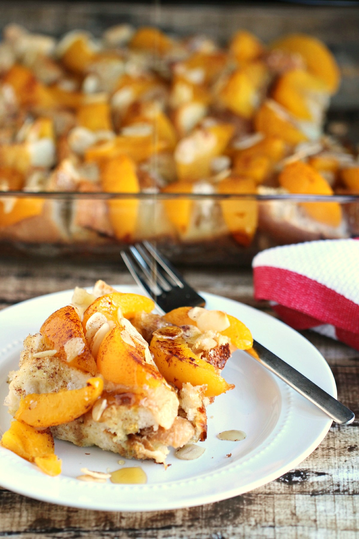 Overnight Peach French Toast Bake with Almonds