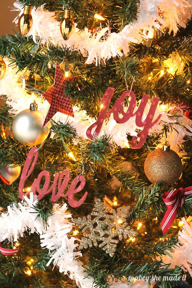 DIY Peace, Love, and Joy Ornaments