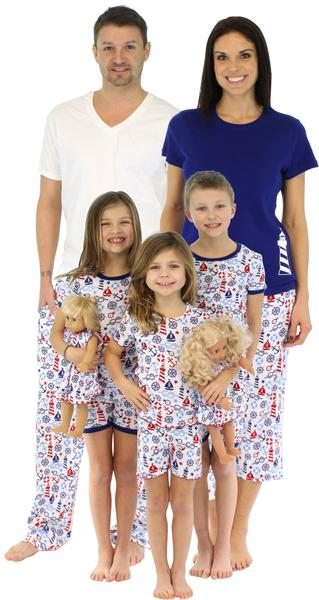 SleepytimePjs Family Matching Nautical Cotton Pajama for the Family - spring and summer lightweight coordinating pj's