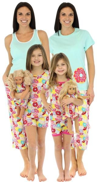 SleepytimePjs Mommy and Me Donut Matching Pajamas - spring and summer lightweight coordinating pj's