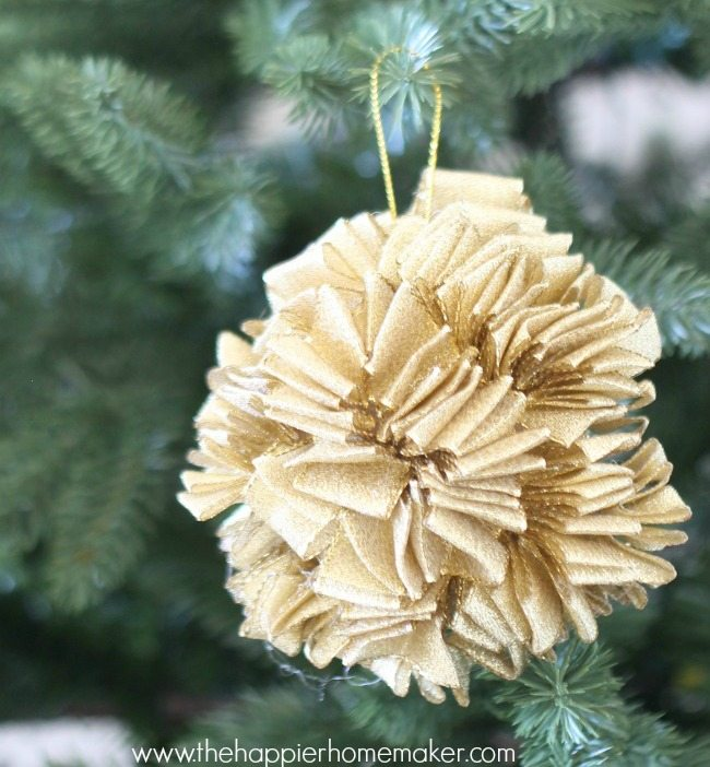 DIY Gold Ruffle Ornament