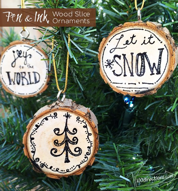 DIY Pen and Ink Wood Slice Ornaments