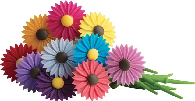 Daisy Wine Charms - silicone flowers that wrap around the stem - ad