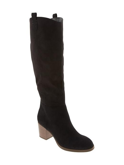 "Old Navy: Suede Boots fabric & care 100% synthetic materials. Imported. overview Smooth faux-leather upper, with pull-on tab detail at opening and pieced vamp and heel. Cushioned foot bed. Textured rubber outsole. Approximately 18""H, with 2 1/2"" heel."