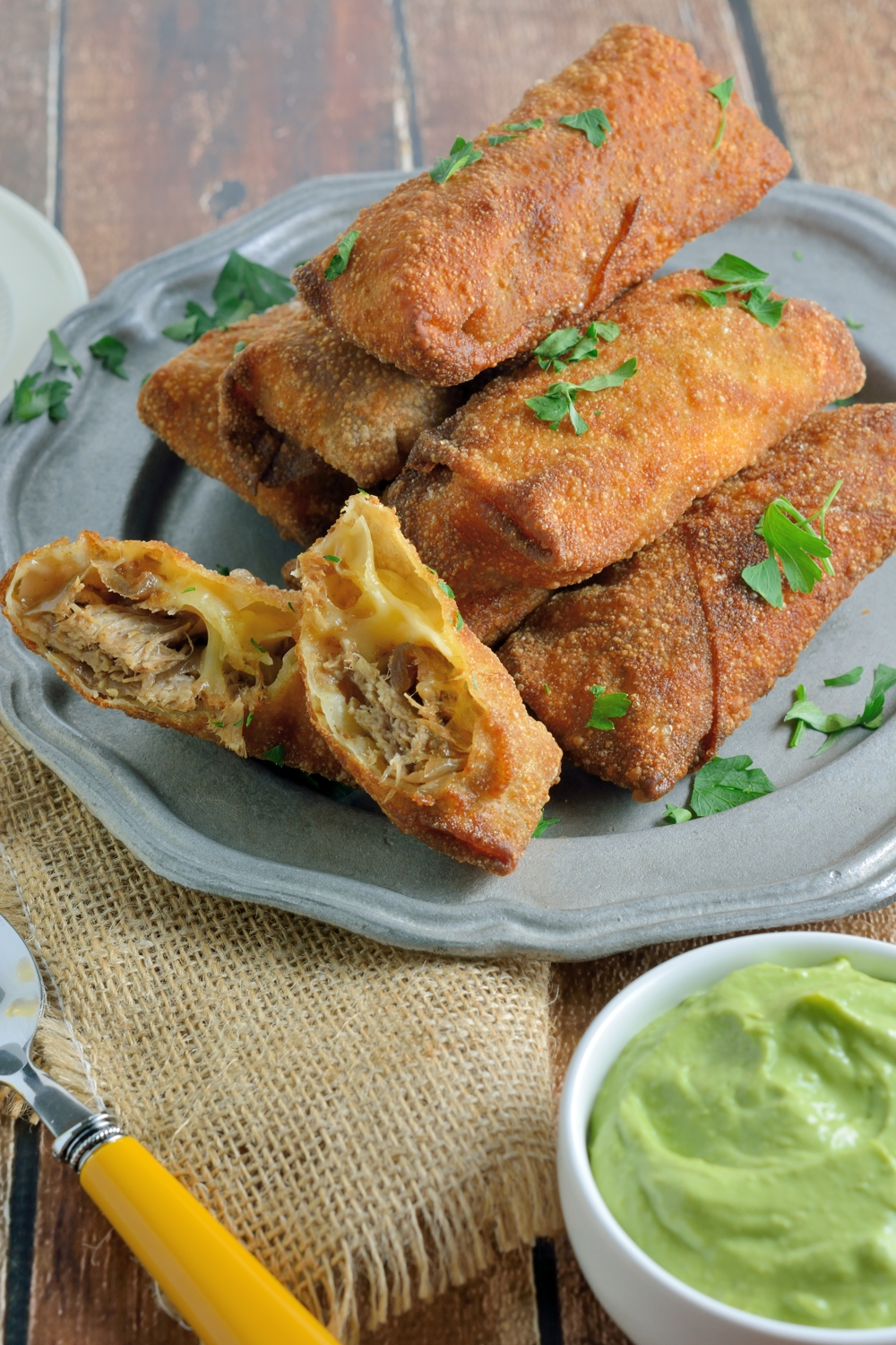 super bowl appetizer recipe pulled pork and smoked gouda egg rolls