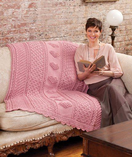 Aran Hearts Throw - Sweet Heart Afgan - Free Crochet Pattern