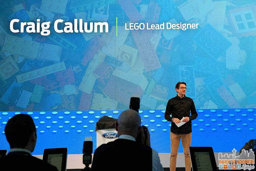Craig Callum, LEGO lead designer, announces the new LEGO Speed Champions product line at the 2016 NAIAS.
