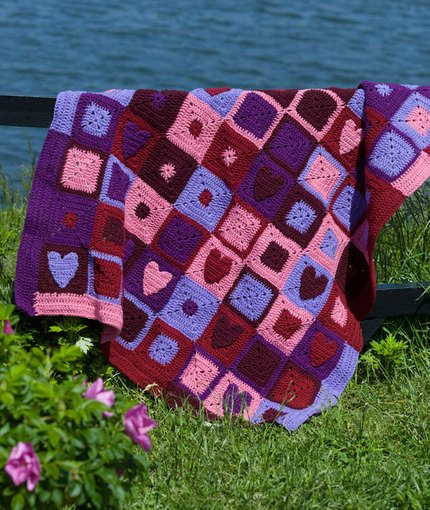 Happy Hearts Afghan Free Crochet Pattern