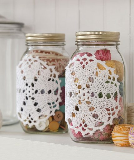Hearts Jar Cover Free Crochet Pattern