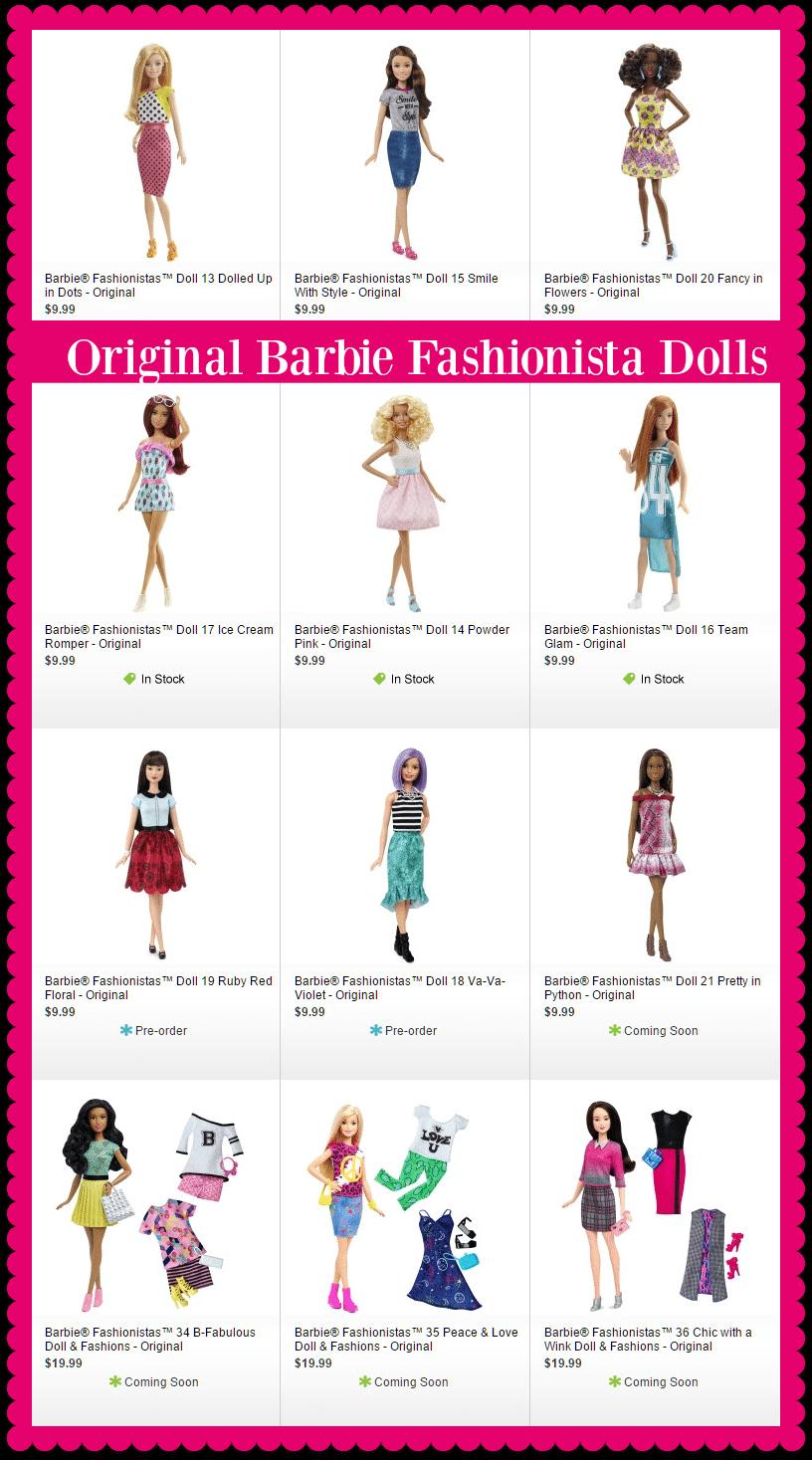 New Barbie Original Fashionistas Dolls