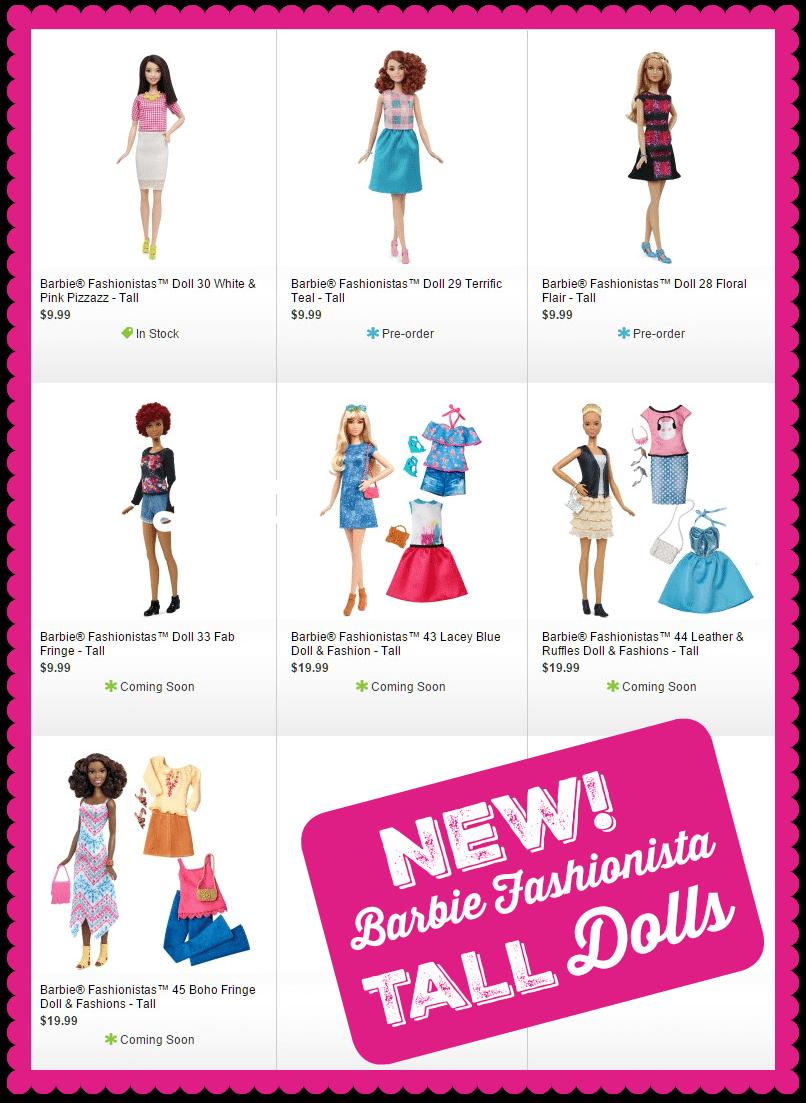 New Barbie Tall Dolls