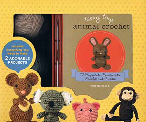 Teeny Tiny Animal Crochet Kit - like the others, the yarn, crochet hook, stuffing and more are included to finish two of the projects. Plus 12 total patterns including a mouse with cheese, koala bear, pig, rabbit, and monkey.