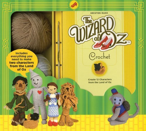 The Wizard of Oz Crochet Kit by Kristen Rask - patterns for 12 of your favorite WOZ characters including Dorthy, the Scarecrow, the Tinman, Cowardly Lion, and a flying Monkey.