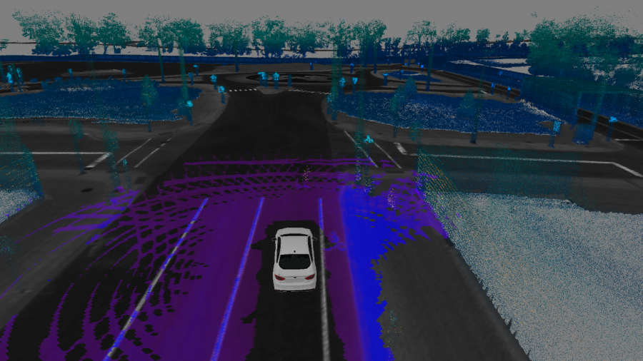 FUSION HYBRID RESEARCH VEHICLE 3D MAP 3D Mapping aerial of what the Ford Fusion Hybrid Autonomous Research vehicle sees (in purple) as it navigates the roadway and identifies obstacles. Photo Credit: Ford Motor Co