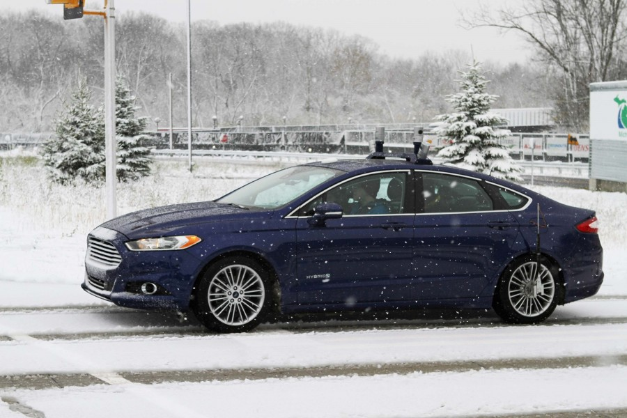 To navigate snowy roads, Ford autonomous vehicles are equipped with high-resolution 3D maps – complete with information about the road and what's above it, including road markings, signs, geography, landmarks and topography. Photo Credit: Ford Motor Co