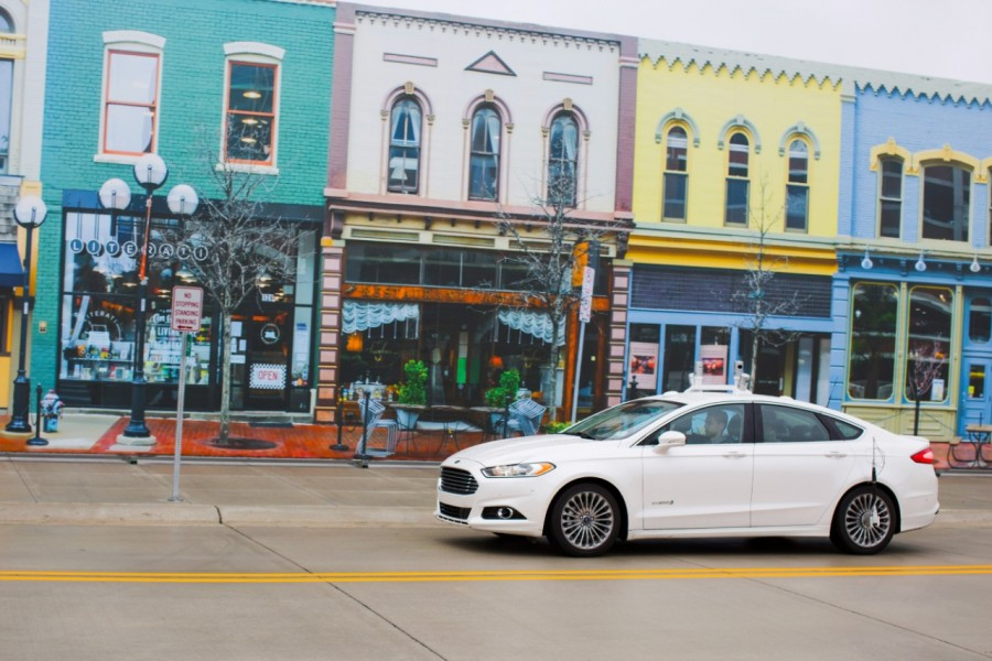 Ford is accelerating testing of its Fusion Hybrid Research Vehicle as the first automaker to test a fully autonomous vehicle at Mcity, the world's first full-scale simulated urban environment at University of Michigan. Photo Credit: Ford Motor Co