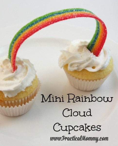 Mini Rainbow Cloud Cupcakes