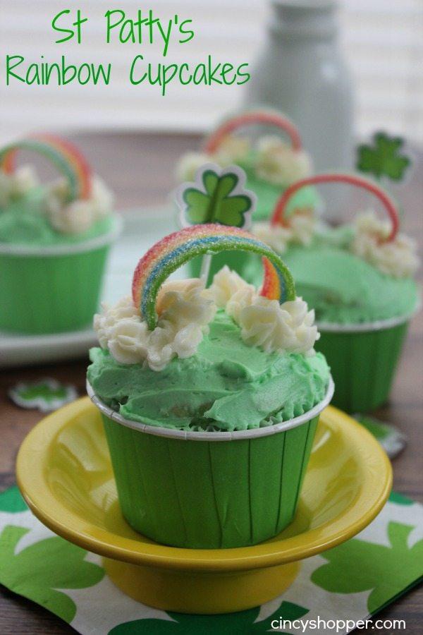 St Patricks Rainbow Cupcakes