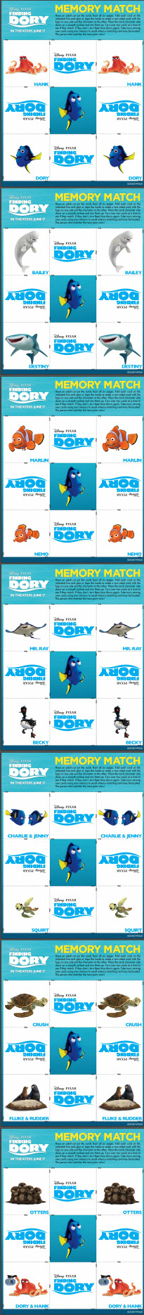Finding Dory Memory Match Game Free Printable Downloadable