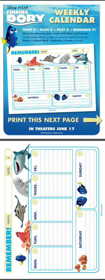 Printable Calendar Kit : Disney s finding dory free downloadable activity kit