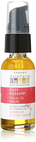 Aura Cacia Deep Rosehip Facial Oil Serum, 1 Fluid Ounce This deep rosehip facial oil serum smells divine with its penetrating oils including geranium and clary sage and does so much for your skin. This is a ready-to-use blend that replaces your skin's natural elements. Rosehip oil's high portion of 94% unsaturated essential fatty acids enhanced with vitamin E will absorb quickly and deeply into your skin. For best results, apply this rich facial oil serum to your damp skin immediately after cleansing to restore moisture to your skin.