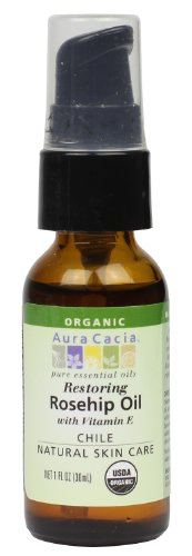 Aura Cacia Organic Natural Skin Care, Restoring Rosehip Oil with Vitamin E, 1 Fluid Ounce This organic rosehip oil, valued as a potent skin rejuvenator, is extracted from the seeds of rose fruits, known as hips, in South America. It contains pure retinol (vitamin a) known for replenishing and restoring mature and sun-damaged skin. Use this ready-to-use natural skin care oil alone or add a few drops of essential oils for added therapeutic benefits.