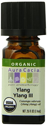 Aura Cacia Organic Essential Oil, Ylang Ylang, 0.25 Fluid Ounce A sweet floral scent with warm overtones - mixes beautifully with cinnamon. Very exotic and romantic!