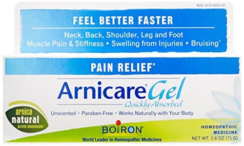 Natural Remedies For Cold and Flu Season -    Arnicare Gel for Natural Pain Relief  Use Arnica Gel for aches and pains (also available in a cream formula). It's a natural, homeopathic medicine that helps relieve muscle pain and stiffness in your neck, shoulder, leg, and foot. Plus it works to heal bruises quickly and helps reduce swelling from injuries. It absorbs quickly and is unscented and paraben-free.