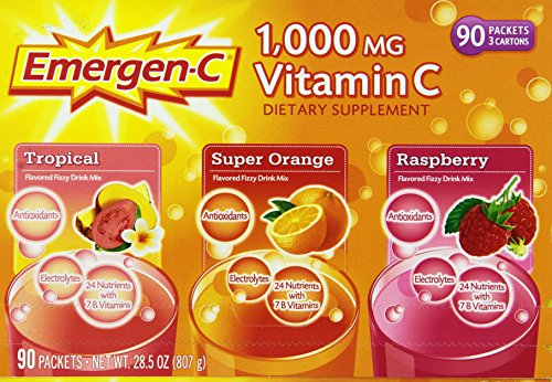 Natural Remedies For Cold and Flu Season -    Emergen-C 1,000 mg Vitamin C Dietary Supplement Drink Mix, Super Orange/Raspberry/Tropical, 90 Packets  Use as a daily supplement and to boost your immune system when you feel something coming on