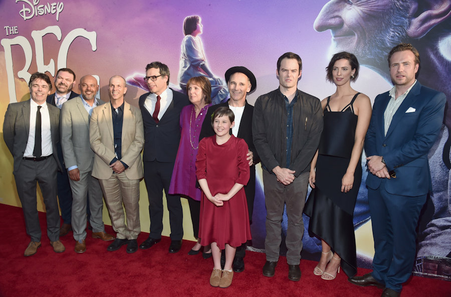 "HOLLYWOOD, CA - JUNE 21: (L-R) Actors Jonathan Holmes, Paul Moniz de Sa, Daniel Bacon, Chris Gibbs, Jemaine Clement, Penelope Wilton, Mark Rylance, Ruby Barnhill, Bill Hader, Rebecca Hall and Rafe Spall arrive on the red carpet for the US premiere of Disney's ""The BFG,"" directed and produced by Steven Spielberg. A giant sized crowd lined the streets of Hollywood Boulevard to see stars arrive at the El Capitan Theatre. ""The BFG"" opens in U.S. theaters on July 1, 2016, the year that marks the 100th anniversary of Dahl's birth, at the El Capitan Theatre on June 21, 2016 in Hollywood, California. (Photo by Alberto E. Rodriguez/Getty Images for Disney) *** Local Caption *** Jonathan Holmes; Paul Moniz de Sa; Daniel Bacon; Chris Gibbs; Jemaine Clement; Penelope Wilton; Mark Rylance; Ruby Barnhill; Bill Hader; Rebecca Hall; Rafe Spall #theBFGEvent"