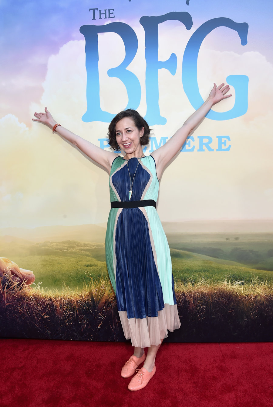"HOLLYWOOD, CA - JUNE 21: Actress Kristen Schaal arrives on the red carpet for the US premiere of Disney's ""The BFG,"" directed and produced by Steven Spielberg. A giant sized crowd lined the streets of Hollywood Boulevard to see stars arrive at the El Capitan Theatre. ""The BFG"" opens in U.S. theaters on July 1, 2016, the year that marks the 100th anniversary of Dahl's birth, at the El Capitan Theatre on June 21, 2016 in Hollywood, California. (Photo by Alberto E. Rodriguez/Getty Images for Disney) *** Local Caption *** Kristen Schaal #TheBFG"