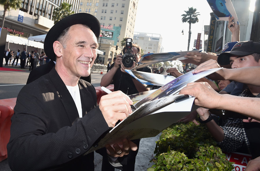 "HOLLYWOOD, CA - JUNE 21: Actor Mark Rylance arrives on the red carpet for the US premiere of Disney's ""The BFG,"" directed and produced by Steven Spielberg. A giant sized crowd lined the streets of Hollywood Boulevard to see stars arrive at the El Capitan Theatre. ""The BFG"" opens in U.S. theaters on July 1, 2016, the year that marks the 100th anniversary of Dahl's birth, at the El Capitan Theatre on June 21, 2016 in Hollywood, California. (Photo by Alberto E. Rodriguez/Getty Images for Disney) *** Local Caption *** Mark Rylance #TheBFGEvent"