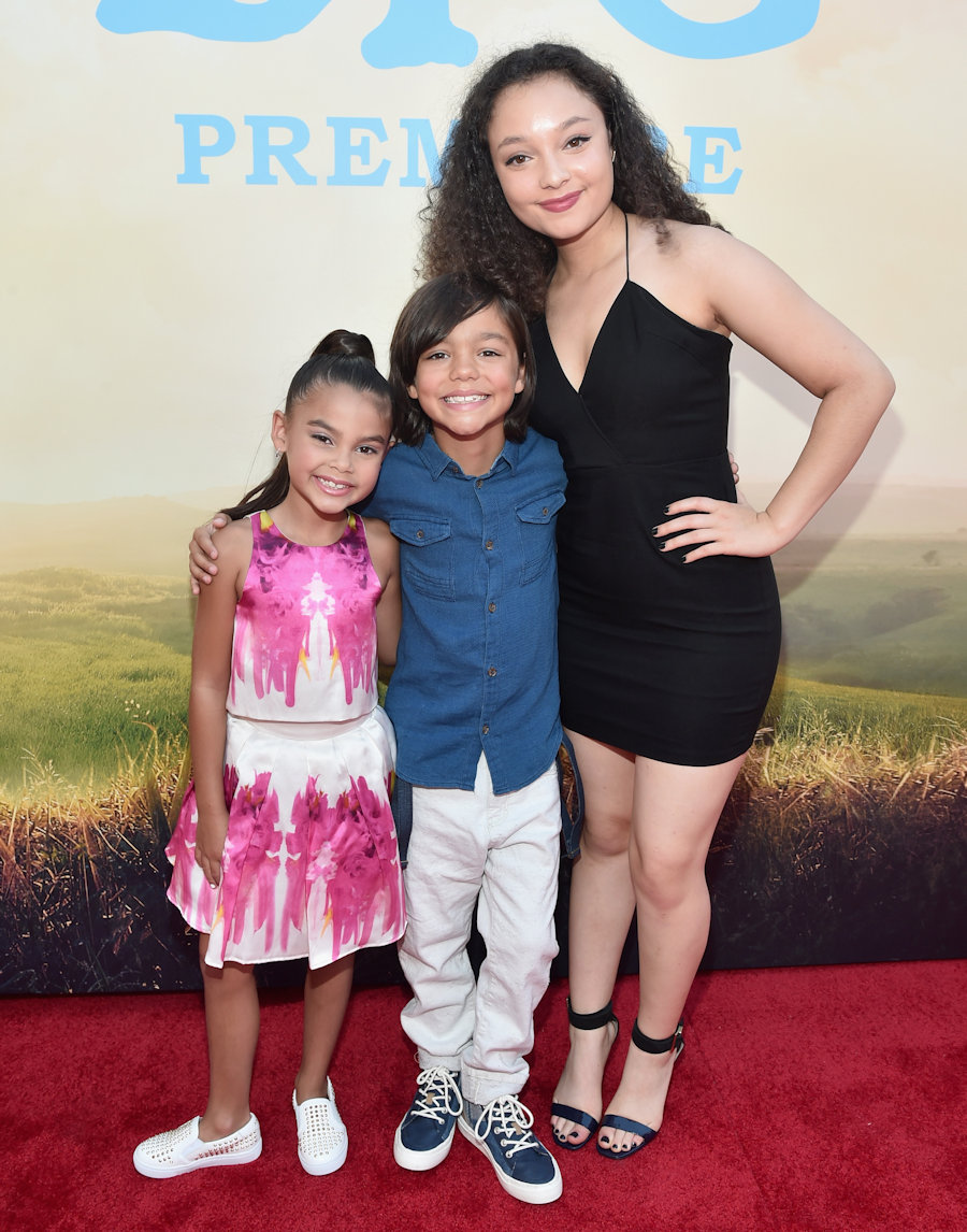 "HOLLYWOOD, CA - JUNE 21: (L-R) Actors Ariana Greenblatt, Malachi Barton and Kayla Maisonet arrive on the red carpet for the US premiere of Disney's ""The BFG,"" directed and produced by Steven Spielberg. A giant sized crowd lined the streets of Hollywood Boulevard to see stars arrive at the El Capitan Theatre. ""The BFG"" opens in U.S. theaters on July 1, 2016, the year that marks the 100th anniversary of Dahl's birth, at the El Capitan Theatre on June 21, 2016 in Hollywood, California. (Photo by Alberto E. Rodriguez/Getty Images for Disney) *** Local Caption *** Ariana Greenblatt; Malachi Barton; Kayla Maisonet #TheBFGEvent"