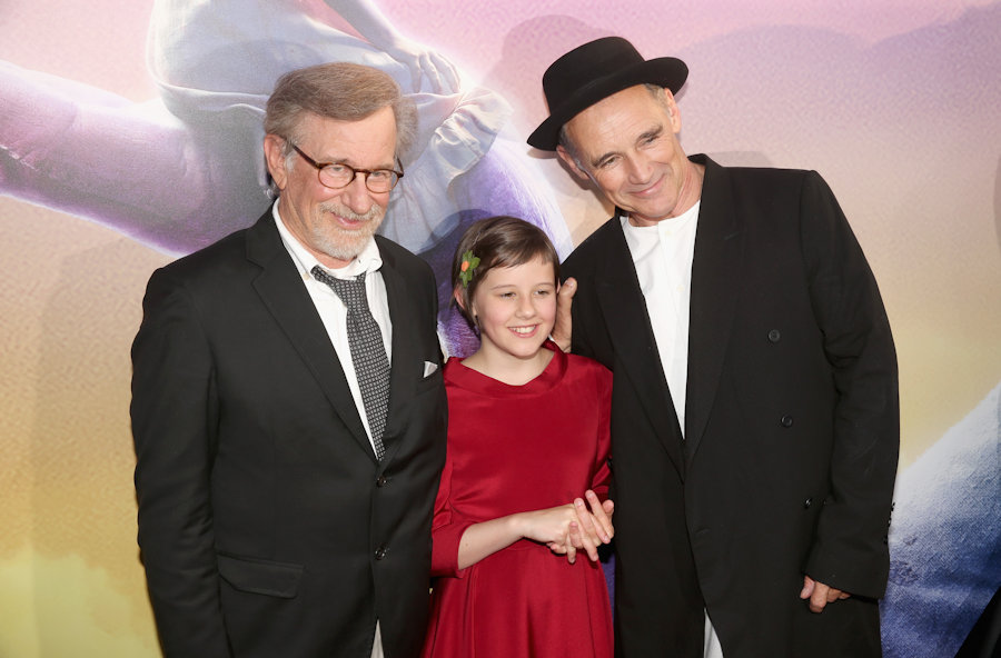 "HOLLYWOOD, CA - JUNE 21: (L-R) Director Steven Spielberg, actress Ruby Barnhill and actor Mark Rylance arrive on the red carpet for the US premiere of Disney's ""The BFG,"" directed and produced by Steven Spielberg. A giant sized crowd lined the streets of Hollywood Boulevard to see stars arrive at the El Capitan Theatre. ""The BFG"" opens in U.S. theaters on July 1, 2016, the year that marks the 100th anniversary of Dahl's birth, at the El Capitan Theatre on June 21, 2016 in Hollywood, California. (Photo by Jesse Grant/Getty Images for Disney) *** Local Caption *** Steven Spielberg; Ruby Barnhill; Mark Rylance #thebfgevent"
