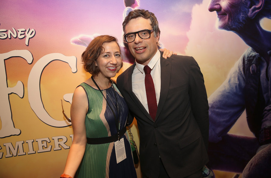 "HOLLYWOOD, CA - JUNE 21: Actors Kristen Schaal and Jermaine Clement arrive on the red carpet for the US premiere of Disney's ""The BFG,"" directed and produced by Steven Spielberg. A giant sized crowd lined the streets of Hollywood Boulevard to see stars arrive at the El Capitan Theatre. ""The BFG"" opens in U.S. theaters on July 1, 2016, the year that marks the 100th anniversary of Dahl's birth, at the El Capitan Theatre on June 21, 2016 in Hollywood, California. (Photo by Jesse Grant/Getty Images for Disney) *** Local Caption *** Kristen Schaal; Jermaine Clement #THeBFGEvent"