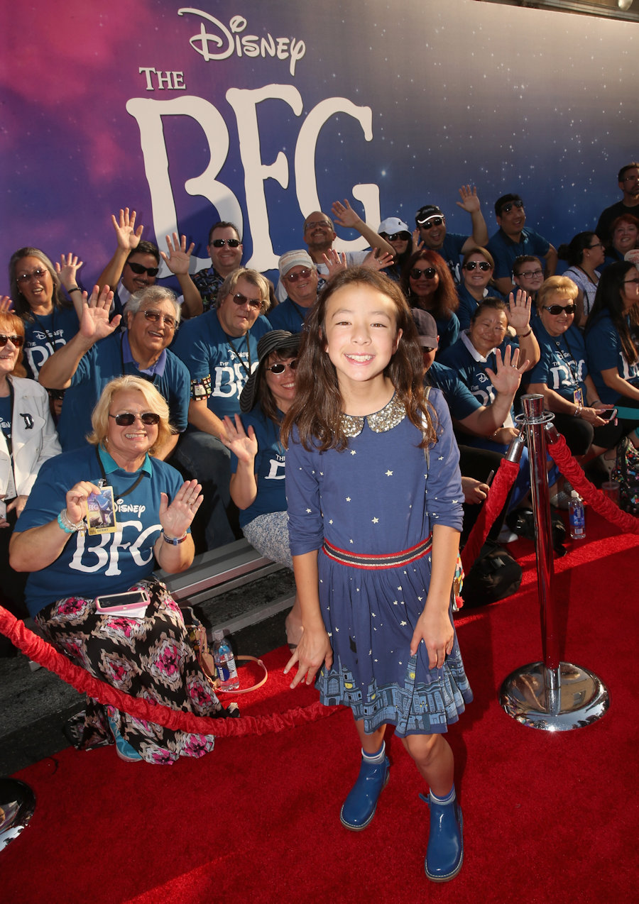 "Actress Aubrey Anderson-Emmons arrives on the red carpet for the US premiere of Disney's ""The BFG,"" directed and produced by Steven Spielberg. A giant sized crowd lined the streets of Hollywood Boulevard to see stars arrive at the El Capitan Theatre. ""The BFG"" opens in U.S. theaters on July 1, 2016, the year that marks the 100th anniversary of Dahl's birth, at the El Capitan Theatre on June 21, 2016 in Hollywood, California. (Photo by Jesse Grant/Getty Images for Disney)"