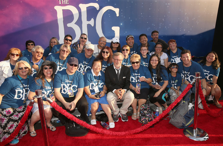 "Posing with D23 Club members seated on the red carpet HOLLYWOOD, CA - JUNE 21: Director Steven Spielberg arrives on the red carpet for the US premiere of Disney's ""The BFG,"" directed and produced by Steven Spielberg. A giant sized crowd lined the streets of Hollywood Boulevard to see stars arrive at the El Capitan Theatre. ""The BFG"" opens in U.S. theaters on July 1, 2016, the year that marks the 100th anniversary of Dahl's birth, at the El Capitan Theatre on June 21, 2016 in Hollywood, California. (Photo by Jesse Grant/Getty Images for Disney) *** Local Caption *** Steven Spielberg #TheBFGEvent"